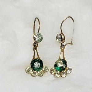Vintage Earrings Dangle Green Emerald Pierced Ears